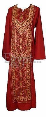 Egyptian-Cotton-embroidered-Galabeya-Abaya-Islamic-Jilbab-Kaftan-Prayer-Isdal