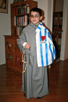 """My oldest decided he would like to be St. Maximilian Kolbe for our All Saints' Party this year. At first I thought, """"Oh, this will be so ea. Catholic Religious Education, Catholic Kids, Catholic Saints, Saint Costume, Eve Costume, Costume Makeup, Costume Ideas, Boy Costumes, Halloween Costumes"""