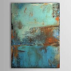 Oil Paintings One Panel Vintage Abstract Blue Color  Hand-painted Canvas Ready to Hang – USD $ 39.99
