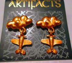 Vintage JJ Jonette  earrings Airplane-signed JJ by SideEffectsNY