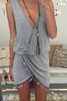 Adorable Gray Sleeveless V-Neck Mini Dress With Tassels