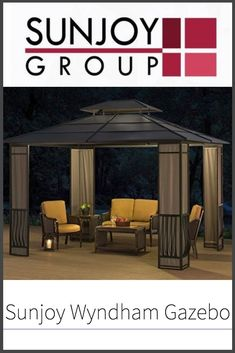 Read our full review of Sunjoy's Wyndham hard top gazebo to see if this gazebo will suit your needs when it comes to cozy backyard enclosures in the milder weather.    #sunjoy #gazebo #backyardlife #chillout Outdoor Gazebos, Outdoor Structures, Hardtop Gazebo, Roof Skylight, Cozy Backyard, Outdoor Living, Outdoor Decor, Flat Roof, Best Model