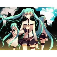 3girls duplicate green eyes green hair hatsune miku long hair plush... ❤ liked on Polyvore featuring vocaloid, anime and anime girl