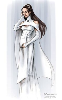 Originally this concept art was for Padme but it was never used for her. Instead it was used for one of Bail Organa's assistents.