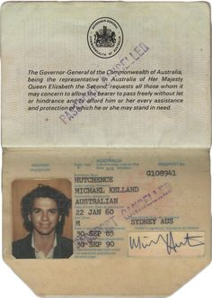 1980s Australian Passport - Michael Hutchence