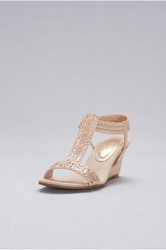 0d6900d0e498 Beautiful Crystal-Studded Cutout T-Strap Wedges in Rose Gold. - Amp up the  shine with this metallic wedge for your Big Day.👰🤵