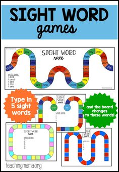 Sight Word Games - free printable game boards! These are customizable and are easily changed to meet the needs of your beginning reader! #sightwords #sightwordgames #sightwordprintables