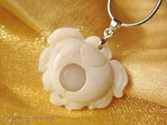 $34.99 Classical White Lotus Flower White Jade Gemstone Pendant Necklace - Feng Shui Purity White Jade Necklace by Fortune Jewelry & Healing Beauty, http://www.amazon.com/dp/B00BT7ZBV6/ref=cm_sw_r_pi_dp_0zuLrb10ZM183
