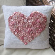 As cute as a button hand knit pillow cover by LadyshipDesigns Sewing Pillows, Diy Pillows, Decorative Pillows, Cushions, Throw Pillows, Button Art, Button Crafts, Heart Button, Pin Button