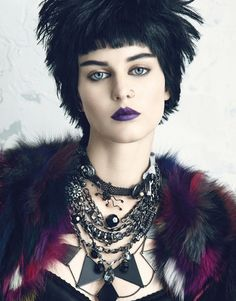 alternative fashion, punk style, punk editorial, makeup, purple lipstick