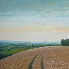 "Philippe Charles Jacquet, La balade, 2013, Oil On Board, 43"" x 43"" #art #landscape #axelle"