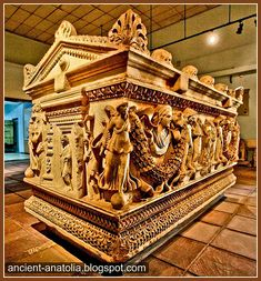 3rd Century Roman sarcophagus of Pamphylia at Archaeology Museum of Konya. Anatolia