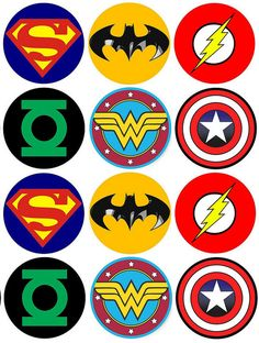 12 x WAFER Cupcake Toppers - Superheroes - Batman Superman - Easy and Edible Avengers Birthday, Batman Birthday, Superhero Birthday Party, Boy Birthday, Batman Party, Birthday Cupcakes, Birthday Parties, Anniversaire Wonder Woman, Hero Symbol