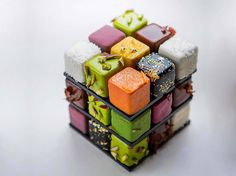 """culturenlifestyle: """"Geometric French Pastries in The Form of Colorful Rubik's Cube Cédric Grolet, chef pâtissier at Le Meurice in Paris found a way out to make Rubik's Cube edible and the puzzle has never been more fun than this! Food Design, Cedric Grolet Patisserie, Beaux Desserts, Geometric Cake, Beautiful Desserts, French Pastries, Pastry Cake, Food Plating, Amazing Cakes"""