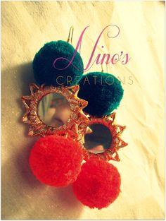 pom pom mirror earrings