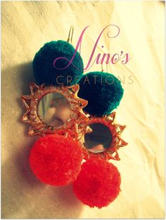 pom pom mirror earrings