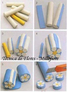 diy cane fleur fimo Best Picture For Polymer Clay Projects flowers For Your Taste You are looking fo Polymer Clay Canes, Polymer Clay Flowers, Fimo Clay, Polymer Clay Projects, Polymer Clay Jewelry, Clay Earrings, Easy Polymer Clay, Crea Fimo, Fondant Figures