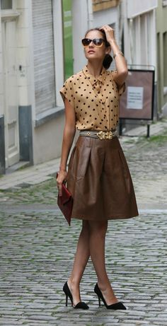 mix of browns and leather skirt
