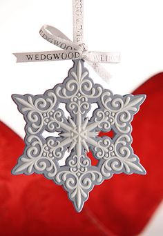 Wedgwood Blue and White Snowflake Ornament. Simple and elegant, in the tradition of Wedgwood blue.