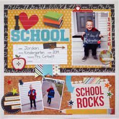 I (heart) School - Scrapbook.com - Scrapbook the first day of kindergarten with Simple Stories Smarty Pants collection.