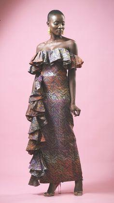 CottonHandmade in Ghana Bow Skirt, Full Skirt Dress, Maxi Shirt Dress, Marni Dress, African Blouses, African Dress, African Attire, African Wear, Deep V Dress