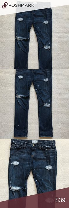 """Current Elliott paint splatter distressed jeans 28 Cutrrent Elliott distressed jeans. I wear a 28 and they fit more like a boyfriend jean on me. If you want them slouchy they will work for 28 if more fitted they will work better for 29. Waist flat across 16.5"""" rise 8"""" hips flat across 18"""" upper thigh circumference 10"""" flat across inseam 29"""" Current/Elliott Jeans Skinny"""