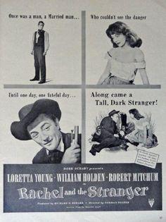 Rachel and the Stranger, original movie poster, 40's Print Ad. B&W Illustration (Loretta Young, William Holden, Robert Mitchum / directed by Norman Foster) Original Vintage 1948 Life Magazine Print Art