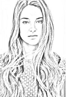 Shailene Woodley drawing. Upload your photo and get a drawing for free!