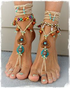 TRISKELE BAREFOOT SANDALS Turquoise Stone artisan by GPyoga