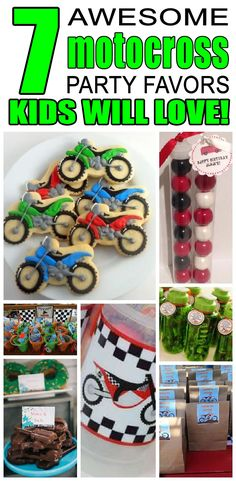 7 motocross party favor ideas for kids. Fun and easy motocross birthday party favor ideas for children. Motocross Birthday Party, Motorcycle Birthday Parties, Dirt Bike Party, Dirt Bike Birthday, Motorcycle Party, Birthday Party Images, Party Favors For Kids Birthday, 6th Birthday Parties, Birthday Party Decorations