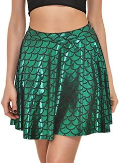 Women's Night Out Skirts - Alaroo Girls Stretchy Fish Scale Mermaid Print Flared Skater Mini Skirt SXL * For more information, visit image link.