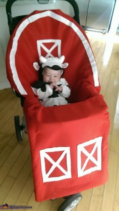 Hailey: I used red and white felt and hot glue to build a barn for my 3 month old son's Halloween costume. It was super easy to make Just cut out...