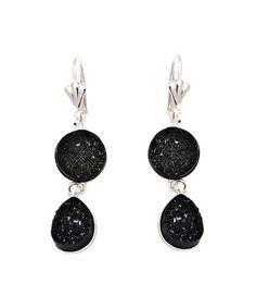 Look at this #zulilyfind! Onyx & Druzy Crystal Teardrop Earrings #zulilyfinds