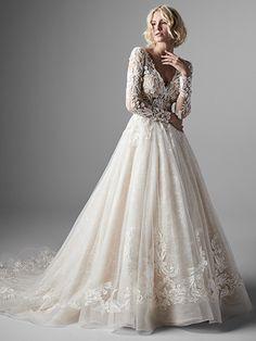Long Sleeve Lace Ball Gown Wedding Dress on Kleinfeld Bridal Bridesmaid Dresses Uk, Long Wedding Dresses, Gown Wedding, Dream Wedding, Bridal Gown, Tulle Wedding, Mermaid Wedding, Headpiece Wedding, Vintage Wedding Dresses