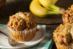 These mouthwatering banana nut butter and jam muffins are packed with protein. Banana Bran Muffins, Banana Protein Muffins, Dash Diet Breakfast Recipe, Breakfast Recipes, Breakfast Muffins, Brunch Recipes, Diabetic Muffins, Diabetic Desserts, Simple Muffin Recipe