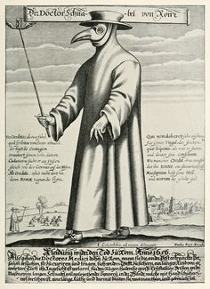 The Plague Doctor or Doktor Schnabel von Rom, engraving by Paul Fürst, 1656.