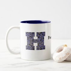 Mosaic Stained Glass Monogram Initial Letter H Two-Tone Coffee Mug - home gifts ideas decor special unique custom individual customized individualized Monogram Gifts, Initial Letters, Monogram Initials, Stained Glass Designs, Personalized Mugs, Mosaic Glass, Home Gifts, Customized Gifts, Special Gifts
