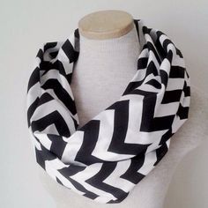 I love geometric design!  I found this on Etsy: Black and White Chevron Infinity Skinny Scarf