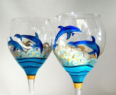 Made To Order Wine Glasses Handpainted Glassware Dolphin Hand Painted Wine Glasses. $65.00, via Etsy.