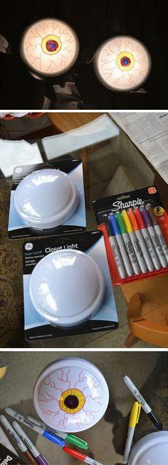 Creepy Eyeball Lights | DIY Halloween Decorating Ideas for Kids | Easy Dollar Store Halloween Crafts for Kids
