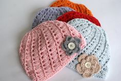 Baby Girl Hat with Flower Baby Crochet Flower Hat by BambinoStore