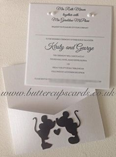 Disney Inspired Minnie & Mickey Mouse Wedding Invitation Package ...