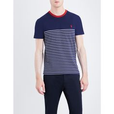 POLO RALPH LAUREN Striped cotton-jersey T-shirt ($65) ❤ liked on Polyvore featuring men's fashion, men's clothing, men's shirts, men's t-shirts, mens striped short sleeve shirt, mens striped shirt, mens short sleeve t shirts, j crew mens shirts and mens crew neck t shirts