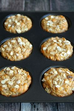 Apple Oat Greek Yogurt Muffins -- ridiculously soft and tender with NO butter or oil! A perfect breakfast or snack!    runningwithspoons.com #healthy #apple #muffins