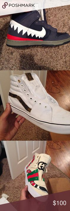 🚨🔥🚨CUSTOM DUNK WORK 🚨🔥🚨 I can do any custom work needed on almost any shoe up to leather work or even paint 🎨 work . Currently working on the Nike dunk bape camo dripping custom pair and will sell for around 100 for the custom pair I have a pair of Jordan's flights I'm gonna do after size 9.5 if u want to reserve them let me know what u want on the pair and I will make the separate post for them ...thanks KIDONECUSTOMS Nike Shoes