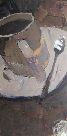 """White Cup with Spoon. 36"""" x 18"""" - oil"""