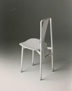 Achille Castiglioni; Enameled Metal and Leather 'Irma' Chair for Zanotta, 1979.