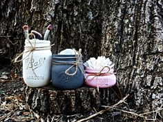 Color Combo set of 3 Painted Mason Jars. Bathroom Decor. Cosmetic Holder. Tissue Holder. Qtip Holder. Rustic Decor. Painted Mason Jars. by KDubWoodCreations on Etsy