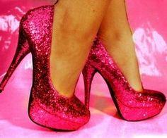 Pink glitter heels!!