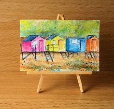 Beach Huts Dolls House Painting Original Miniature Art £5.00